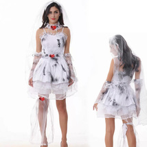 White Dress Ghost Bride Sexy Woman Halloween Christmas Party Wear - $40.59