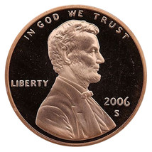 2006-S Lincoln Memorial Cent Penny Gem Proof US Mint Coin Uncirculated UNC image 1