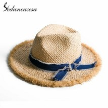 Sedancasesa® Wide Brim Summer Straw Sun Hats For Women Handmade Bowknot Sun - $46.94
