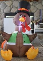 Inflatable Airblown LED Turkey 4' Tall Thanksgiving Pumpkin Hollow  - $55.19 CAD