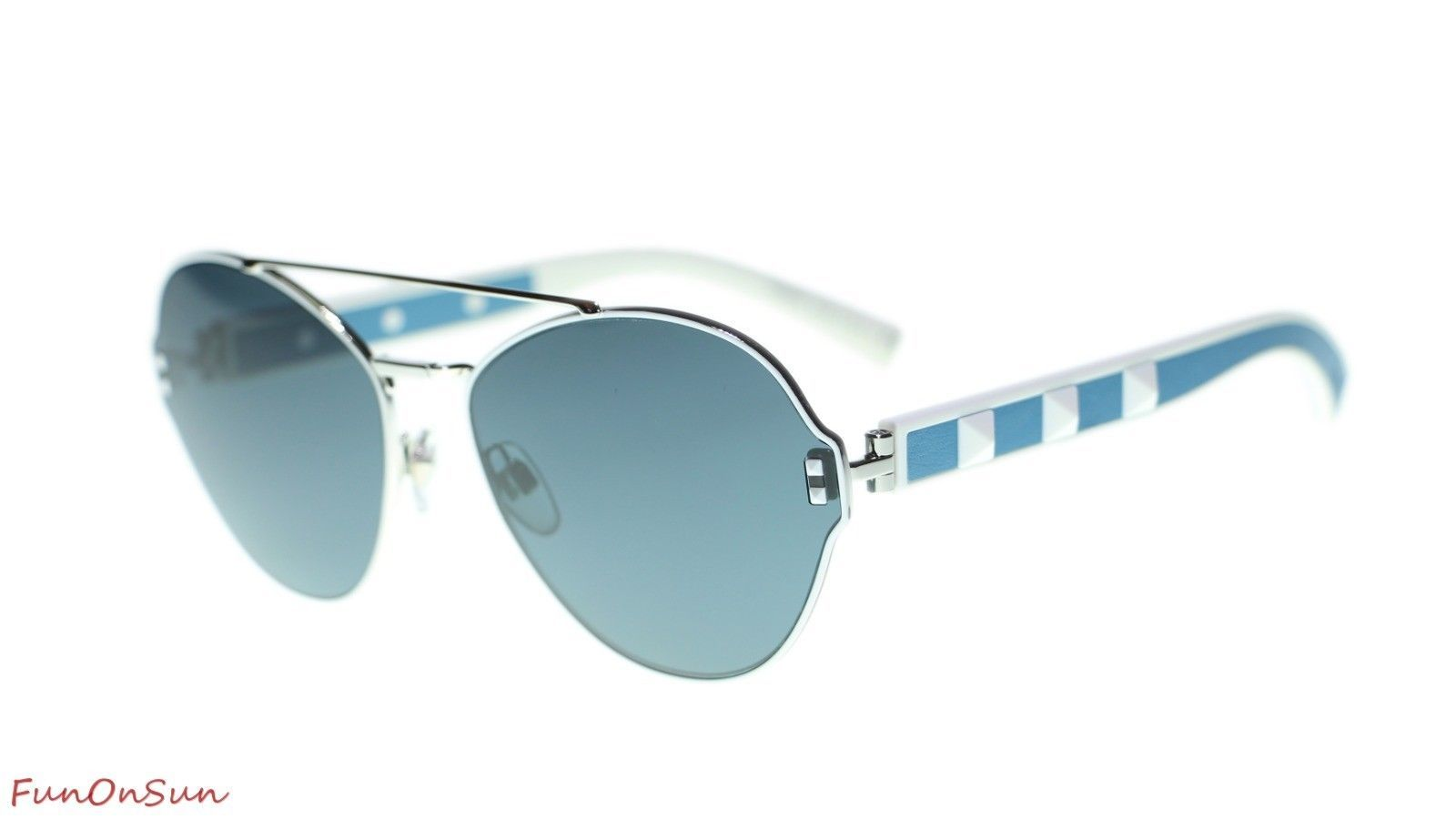 Valentino Sunglasses VA2025 304087 Silver White/Smoke Blue Lens Authentic 60mm