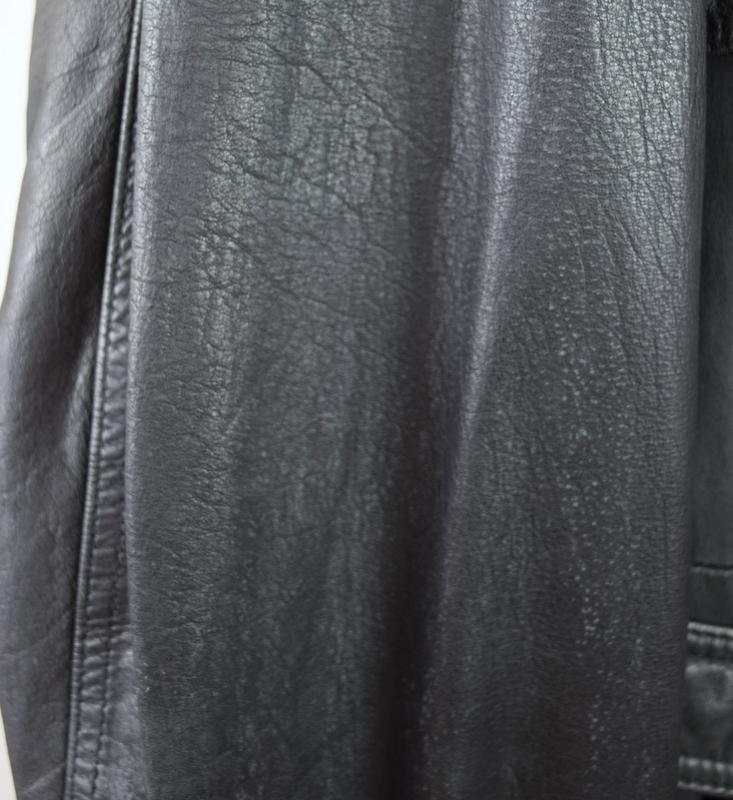 Vtg 80s Luciano Black Leather Duster Overcoat Trench Coat Storm Rider Jacket XL