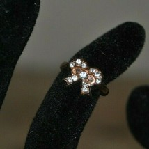 Vintage Child's Ring Size 1 Gold Tone Bow With Rhinestones - $9.99