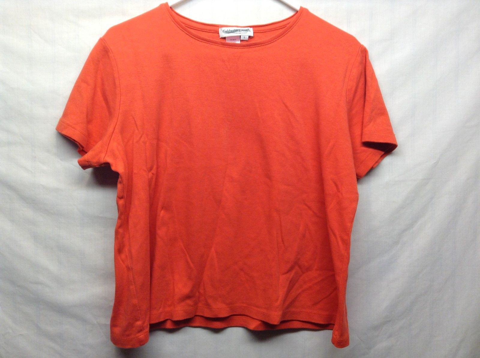 Ladies Tangerine Short Sleeve Pullover Shirt by Coldwater Creek Sz L