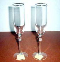 Lenox Platinum Innocence Champagne Flute Pair Crystal Open Oval Stem New - $48.90
