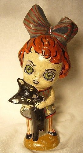 VAILLANCOURT FOLK ART GHOULY GIRL SIGNED HALLOWEEN