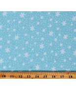 Cotton Snow White Snowflakes on Sky Blue Fabric Print by the Yard D402.62 - $11.95