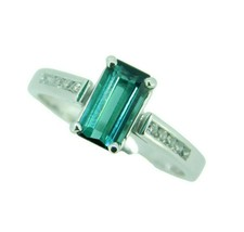 14k White Gold 1.23ct Teal Genuine Natural Tourmaline and Diamond Ring (... - $950.00