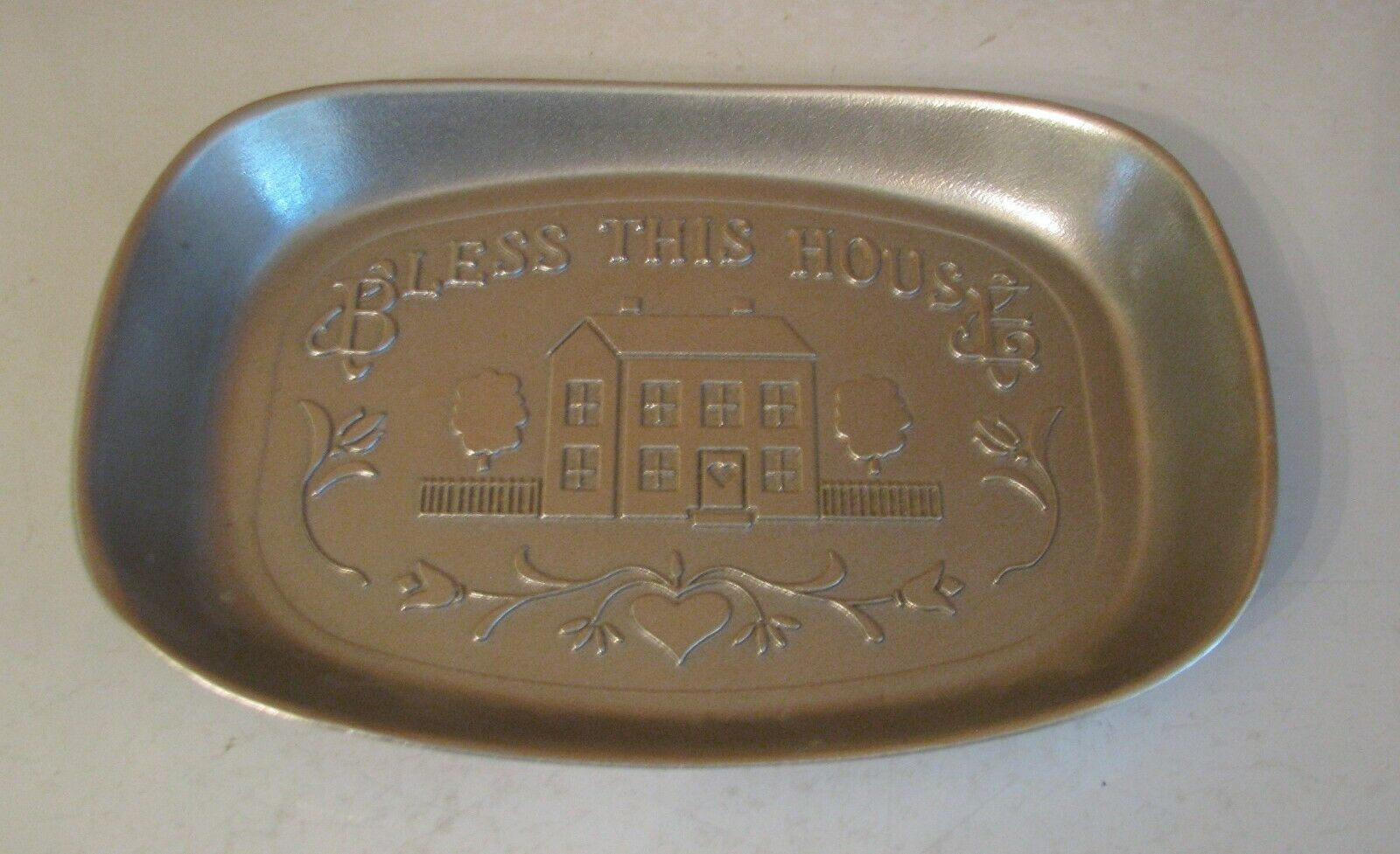 "Primary image for Wilton Armetale Pewter Bread Snack TRAY ""Bless This House"" RWP Hallmark MINT"