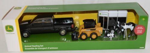 John Deere TBEK37656 Animal Hauling Set Black Truck 2 Horses Trailer Skid Steer