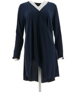 H Halston Long Slv V-Neckline Semi Fitted Wrap Front Tunic Navy 10 NEW A... - $42.55