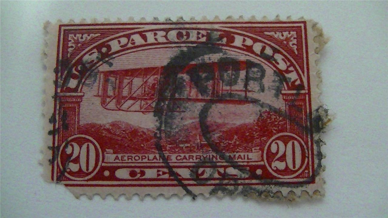 Aeroplane Carrying Mail Carmine Rose USA Used 20 Cent Stamp