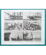 SHIPS Frigate Forward Carronade Port Guard Gun Carriage - 1844 Superb Print - $25.20