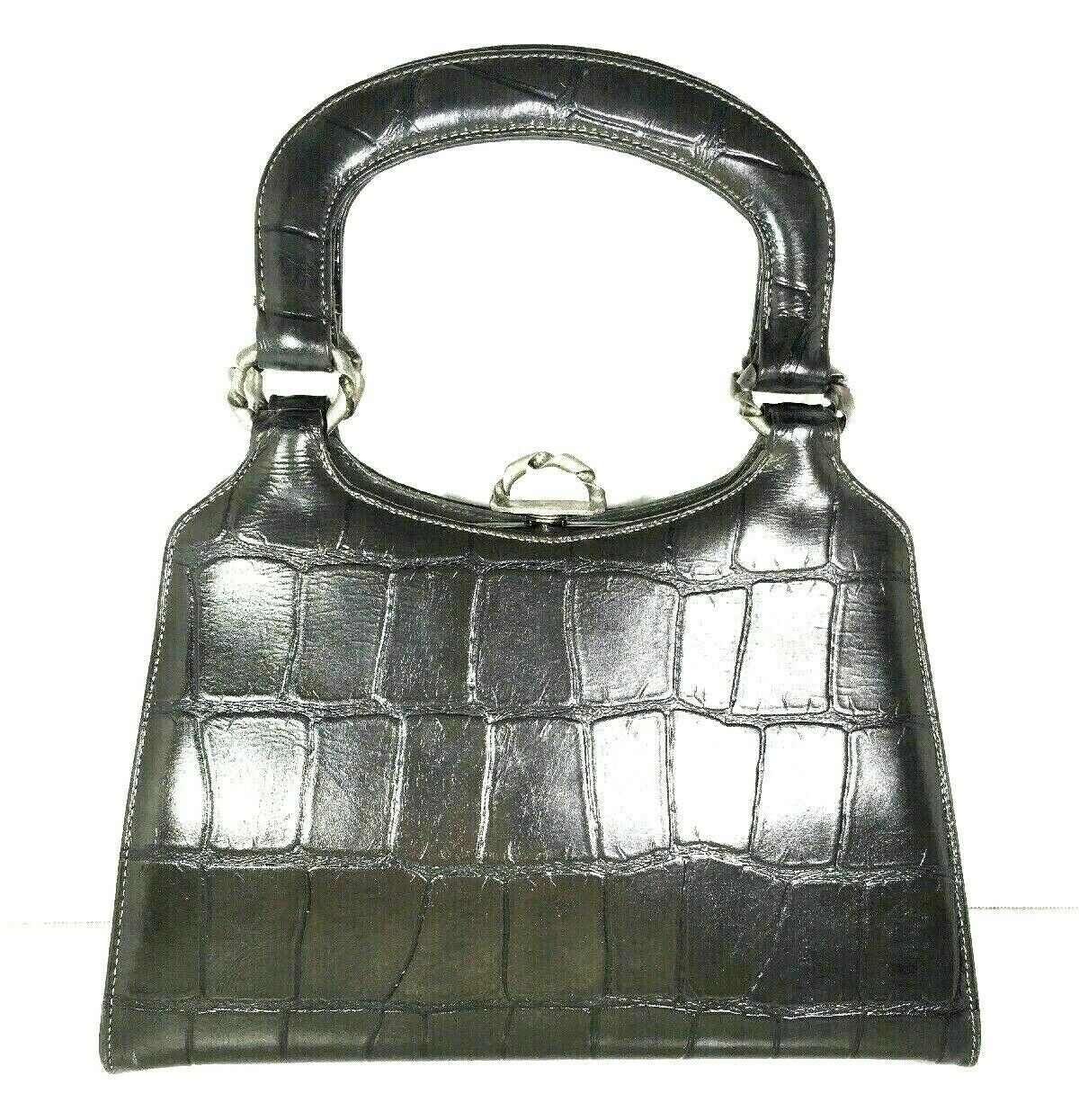 True Vintage Small Handbag Gray Faux Leather Reptile Print