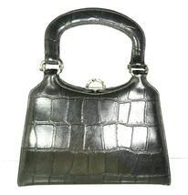 True Vintage Small Handbag Gray Faux Leather Reptile Print - $38.79