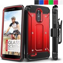 LG G Stylo 3 Case Glass Screen Protector Swivel Belt Clip Holster Hard Cover Red - $16.90