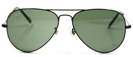 Pre owned Ray Ban 3025 L2823 Black Aviator Sunglasses Green Lens 58mm Au... - $49.45