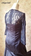 Navy Lace Long Sleeve Mermaid Dress Navy Mother of the bride Dress Wedding Dress image 5