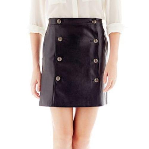 Joe Fresh Faux-Leather Button-Pleat Skirt Size 12 New Msrp $42.00