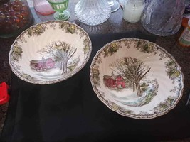 2 Johnson Brothers Friendly Village Round Serving Vegetable Bowl Autumn Mists! - $39.55