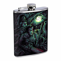Horror Chainsaw Moon Em1 Flask 8oz Stainless Steel Hip Drinking Whiskey - $13.81