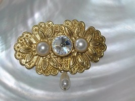Estate Ornate Goldtone Floral Oblong Medalliion with Faux Pearls & Clear... - $8.59