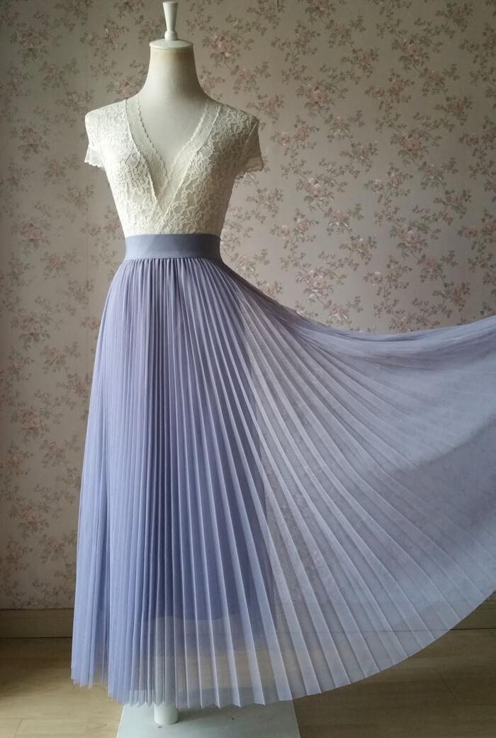 Pleated long tulle skirt gray 6