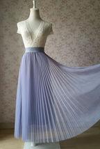 Gray Full Long Pleated Skirt Women High Waisted Gray Pleated Tulle Maxi Skirt  image 1