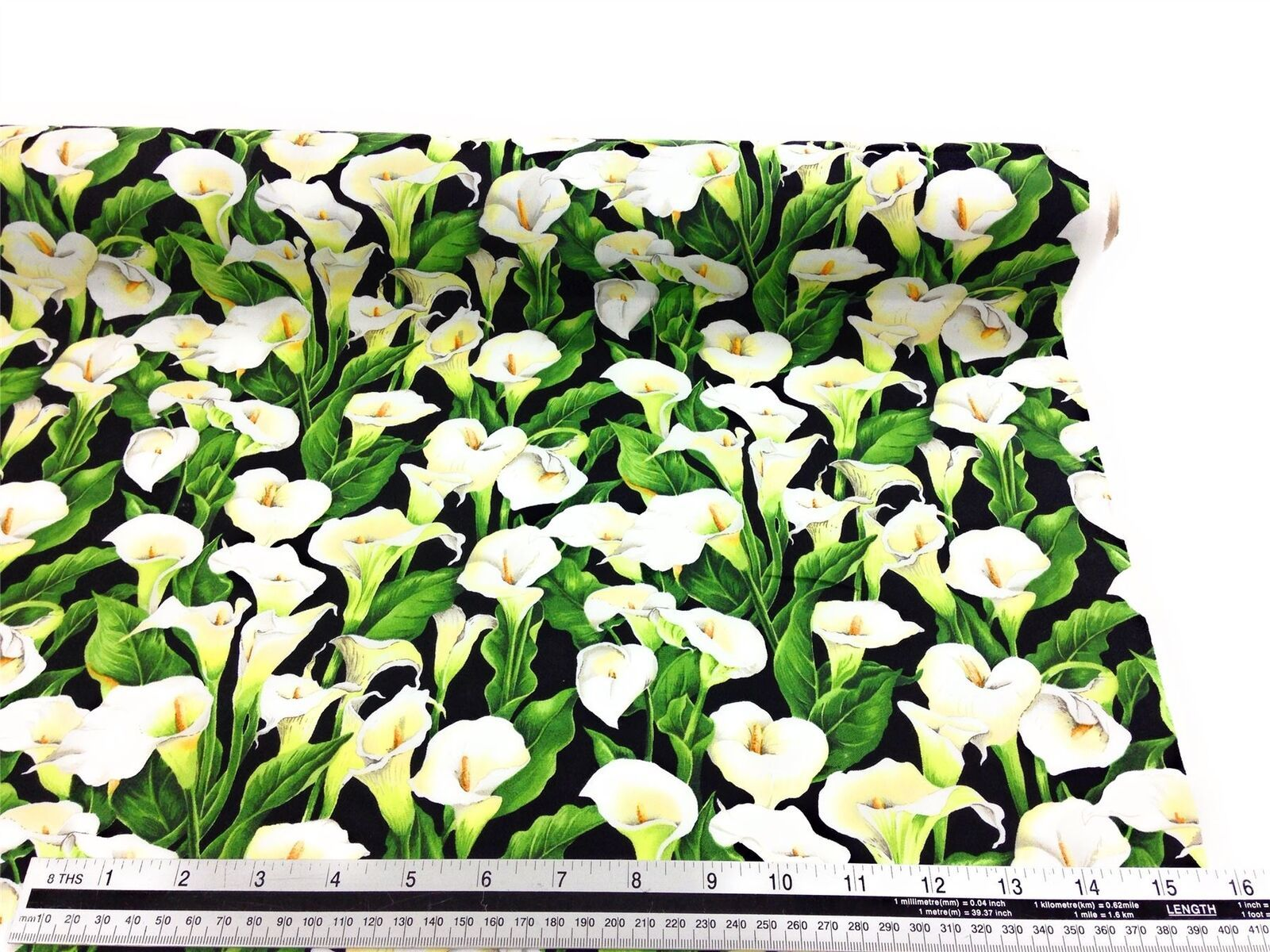 Lillies Floral Black White 100% Cotton High Quality Fabric Material 3 Sizes