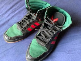 Men's Adidas leather high top basketball sneakers red green size 13 - $39.99