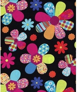 Quilt Fabric, Very Colorful Very Rare Mod Flowers Various Petal Prints, Girly  - $4.13