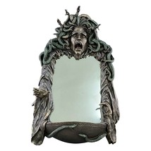 Medusa Head of Snakes Gothic Wall Mirror Décor Statue Sculpture Bronze F... - $167.31