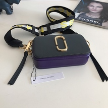 Marc Jacobs Logo Strap Snapshot Small Camera Bag Deep Graphite Multi Aut... - $209.00