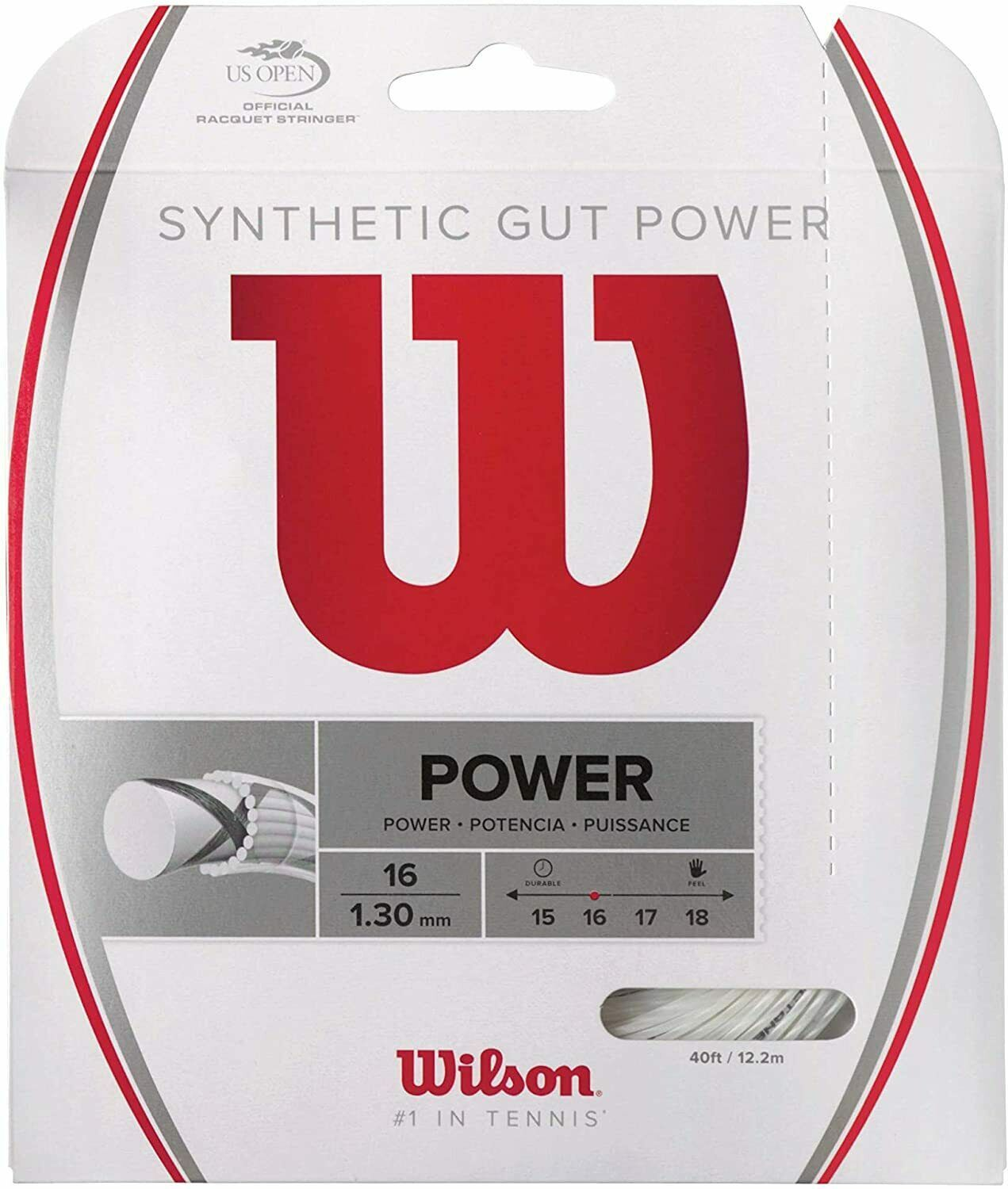 Primary image for Wilson - WRZ945100 - Synthetic Gut Power 16G Tennis Raquet String - White