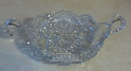 IMPERIAL GLASS NUCUT TWO HANDLED NAPPY/CANDY DISH SAWTOOTH EDGES/HOBSTAR... - $19.99