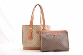 CELINE Macadam Canvas Clutch Bag Tote Bag 2Set Brown Beige Auth ar2061 - $120.00
