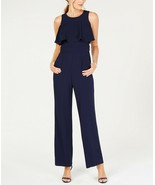 Vince Camuto Women's Ruffled-Bodice Crepe Sleeveless Jumpsuit, Navy NWT 4 - $26.88
