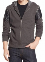 Inc Men's International Concepts Gray Charcoal Full-Zip Hooded Faux-Pane... - $33.65