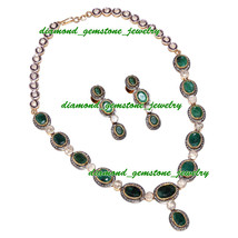 106.10 ROSE ANTIQUE CUT DIAMOND REAL EMERALD VICTORIAN LOOK WEDDING NECK... - $2,296.55