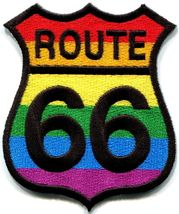 Route 66 gay pride rainbow muscle car americana USA applique iron-on pat... - $2.95