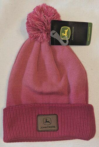 John Deere LP52410 Acrylic Hot Pink Pom Knit Gradient Design Cuffed Beanie