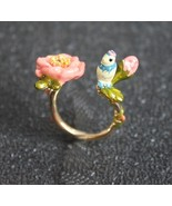 American Jewelry Enamel Glaze Stereo Bird Rose Adjustable Opening Ring M... - $35.99