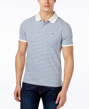 Tommy Hilfiger White & Blue Moore Stripe Short Sleeve Polo Shirt 2XL - $24.95