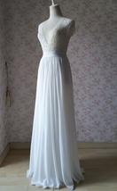 WHITE Chiffon Maxi Skirt Full Long Chiffon Skirt White Wedding Bridesmaid Skirt image 2