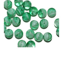 Green Cloudy Round Czech Pressed Glass Beads 8mm (pack of 24) - $6.49