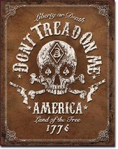 Don't Tread On Me American Skull Bones Flag Military Garage Shop Wall Decor Sign - $15.99