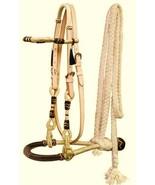 Western Horse Rawhide Core Bosal Hackamore Bridle Headstall w/ Mecate Reins - $58.21