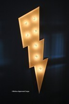 POTTERY BARN MARQUEE LIGHTNING BOLT -NIB- NOW UNIQUE DÉCOR CAN STRIKE AN... - $239.95