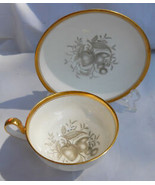 SPODE CHATHAM FRUIT COFFEE CUP/SAUCER SET NO 14 GOLD Y5280 GRAY - $33.65