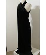 Vintage Dress Black Velvet One-Shoulder Crystal Button Back Halter Bias ... - £205.25 GBP